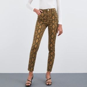 Zara Animal Print High Rise Skinny Jeans Size 27/4